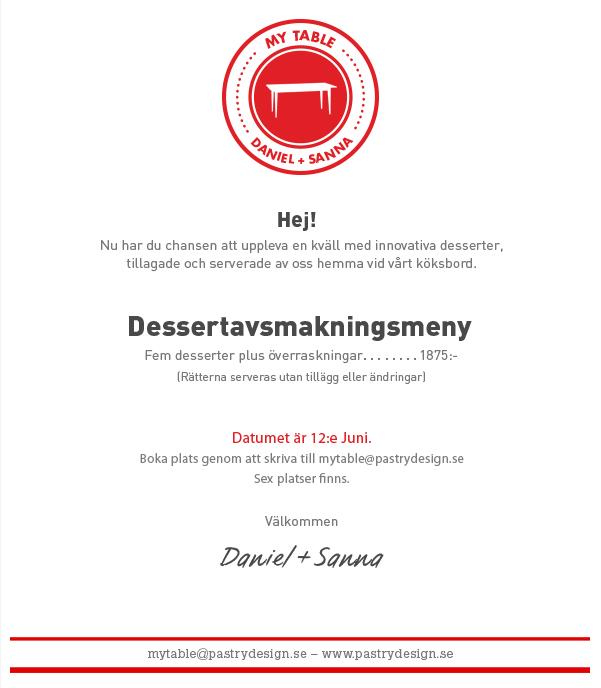 Daniel Roos - My Table Dessert Avsmakningsmeny